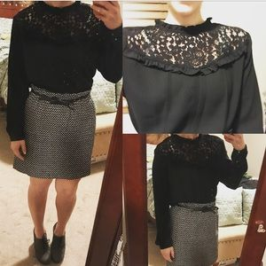 Anthropologie lace yolk guest editor top m black